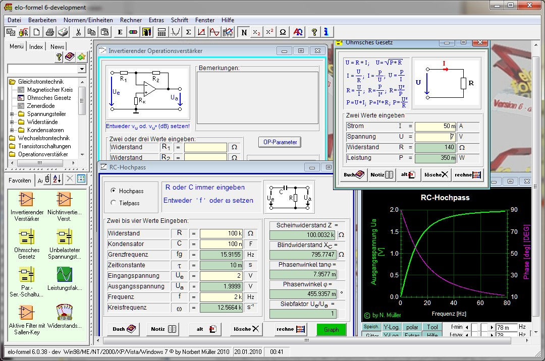 Screenshot vom Programm: elo-formel